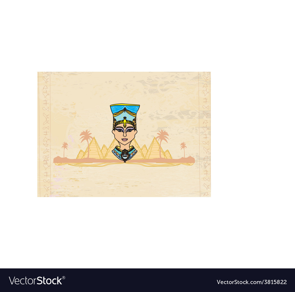 Old paper with egyptian queen vector   Price: 1 Credit (USD $1)