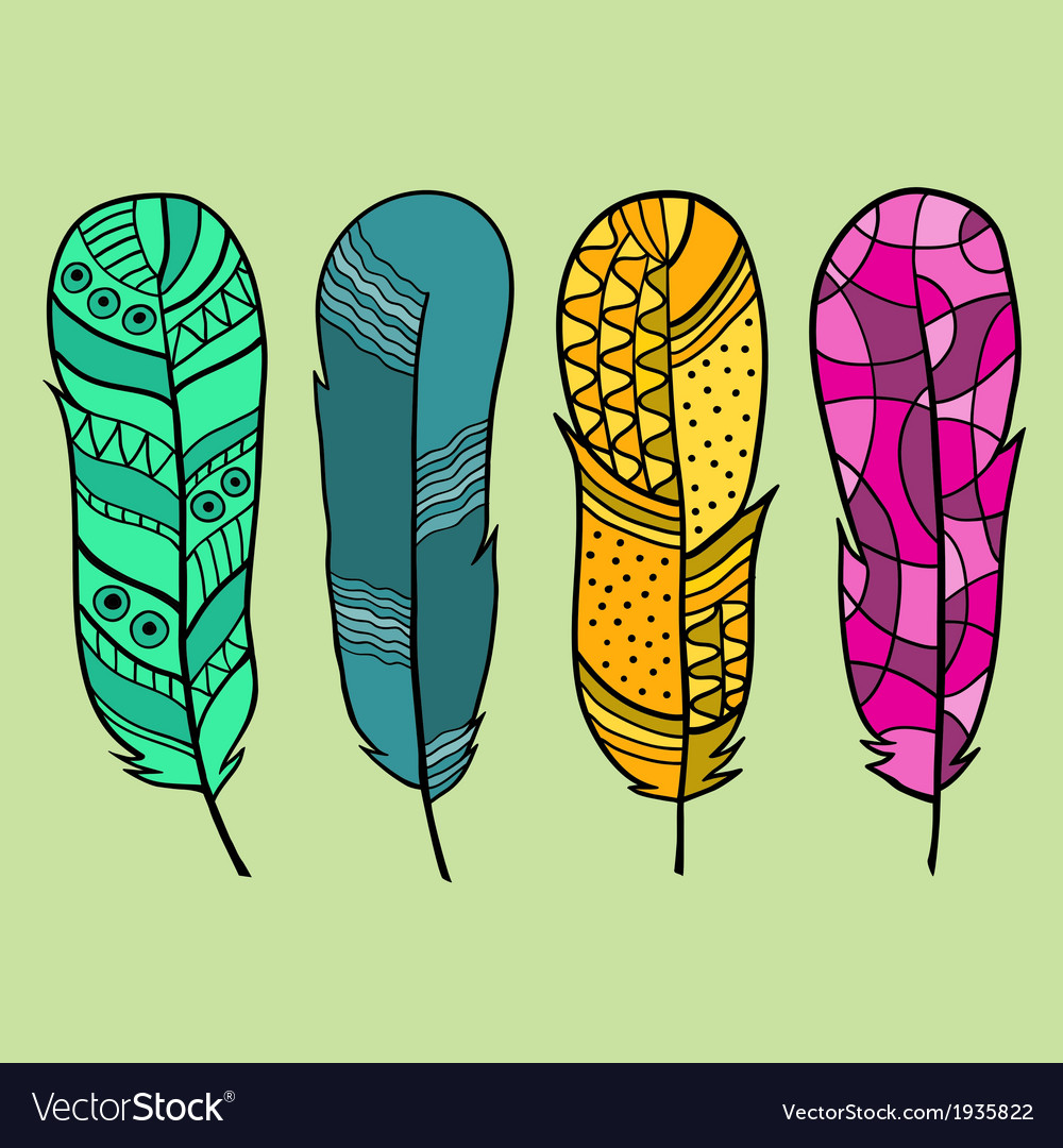 Set of four isolated hand drawn feather vector | Price: 1 Credit (USD $1)
