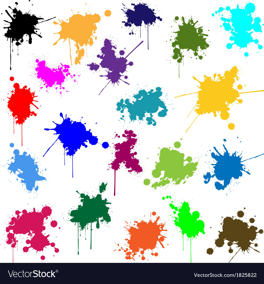 Set of ink in different colors vector | Price: 1 Credit (USD $1)