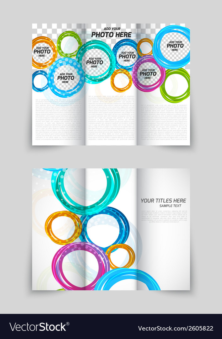 Trifold circles colorful brochure vector | Price: 1 Credit (USD $1)