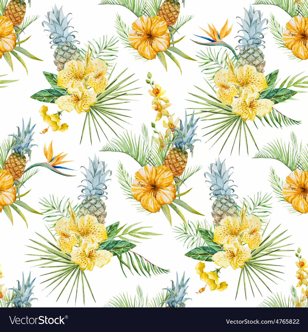 Watercolor tropical flral pattern vector | Price: 1 Credit (USD $1)