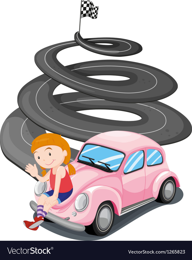A girl and her pink racing car vector