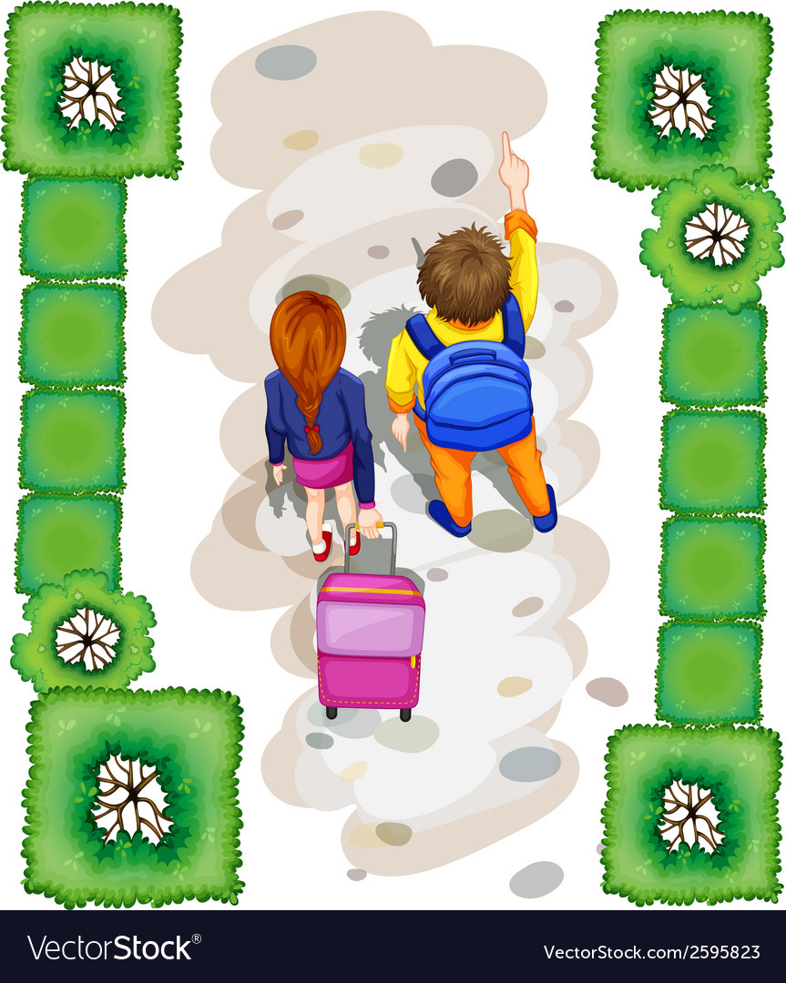 A topview of the students at the park vector | Price: 1 Credit (USD $1)