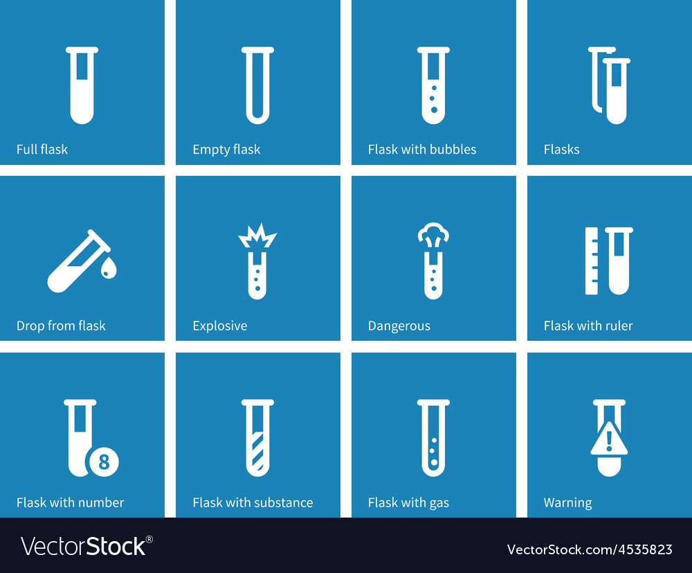 Biochemistry test tube icons on blue background vector | Price: 1 Credit (USD $1)