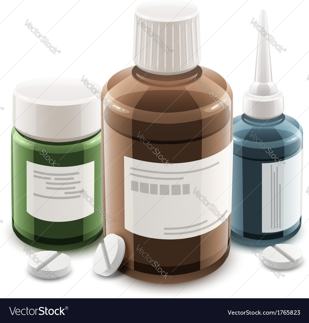 Bottles with medical drugs vector | Price: 1 Credit (USD $1)