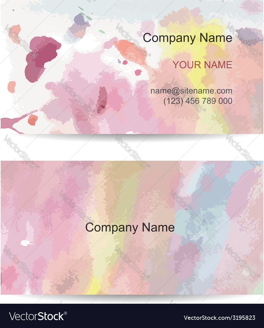 Business card template for your design watercolor vector | Price: 1 Credit (USD $1)
