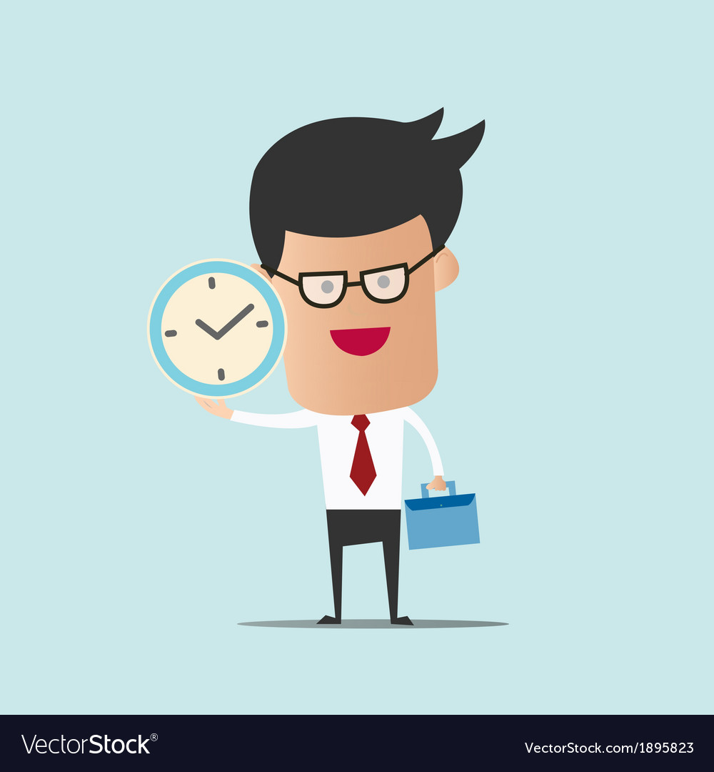 Business man hold bag and clock vector | Price: 1 Credit (USD $1)