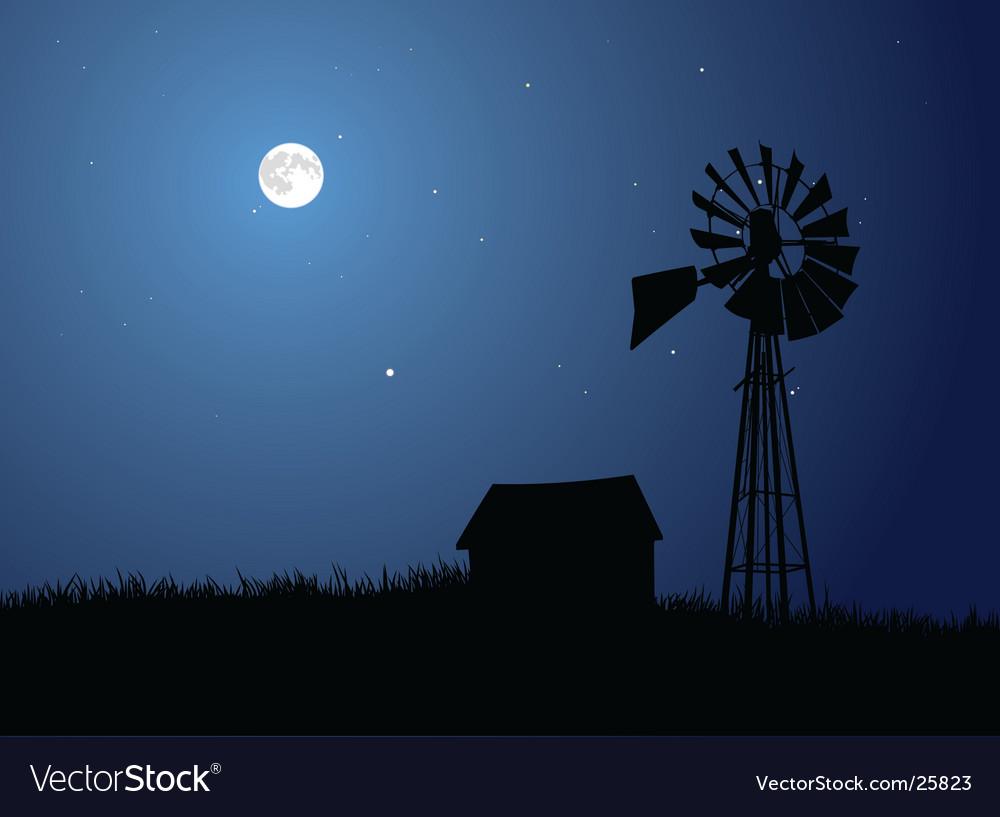 Moonlit farm vector | Price: 1 Credit (USD $1)