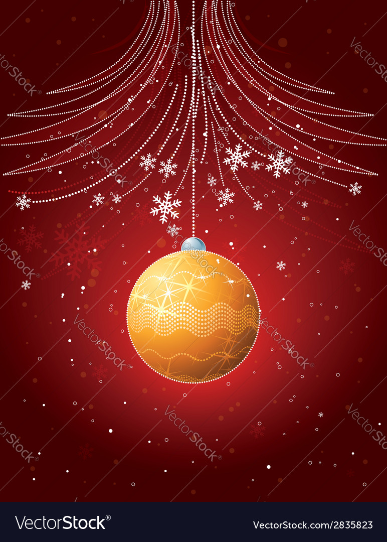 Red christmas card with golden ball vector | Price: 1 Credit (USD $1)