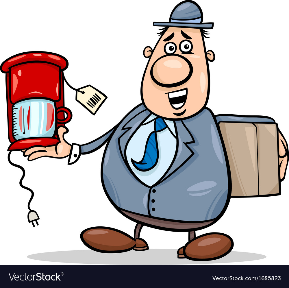 Salesman with coffee maker cartoon vector | Price: 1 Credit (USD $1)