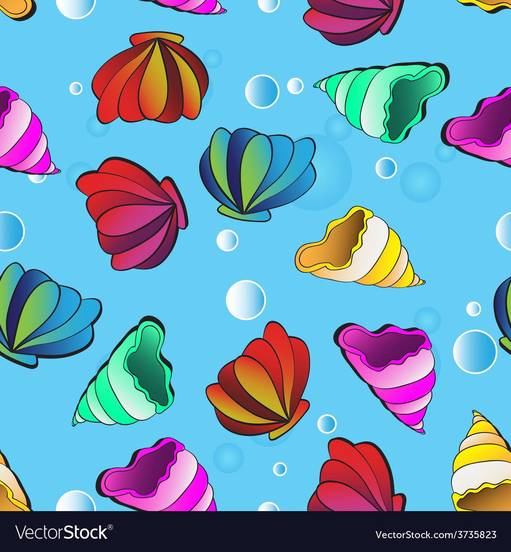 Seamless background with sea shells vector   Price: 1 Credit (USD $1)