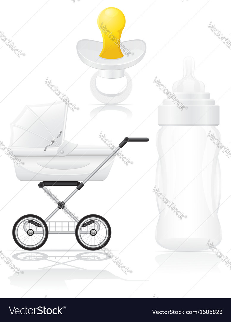 Set icons perambulator bottle and pacifier vector | Price: 1 Credit (USD $1)