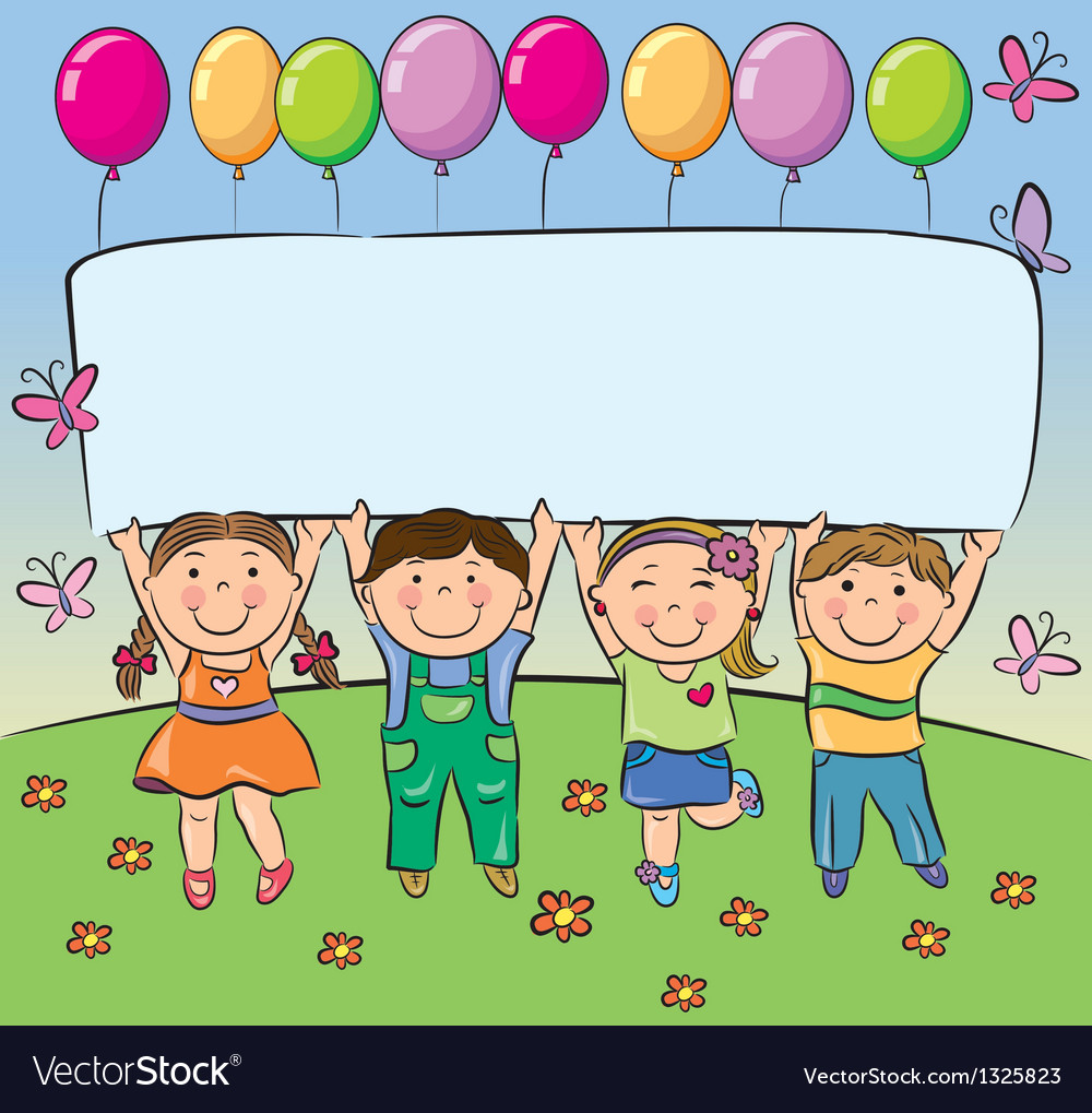 Summer children hold blank banner vector | Price: 1 Credit (USD $1)