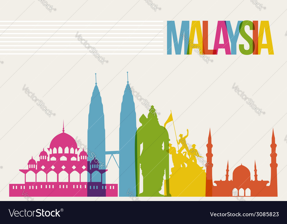 Travel malaysia destination landmarks skyline vector | Price: 1 Credit (USD $1)