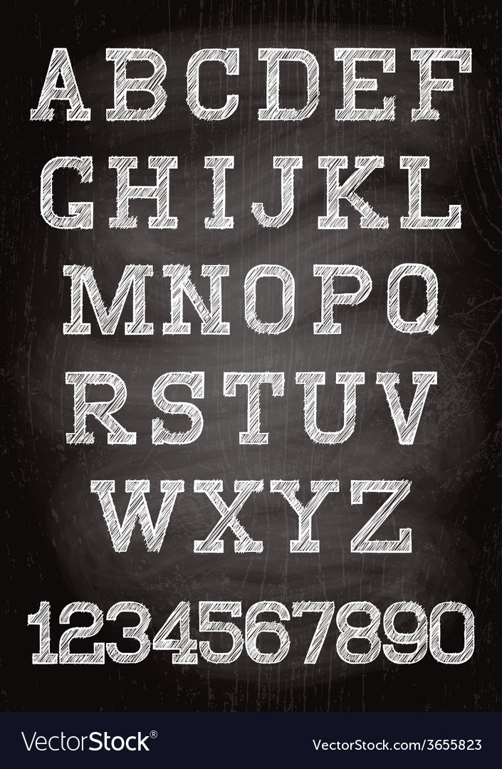 Vintage font written chalk on the wooden board vector | Price: 1 Credit (USD $1)