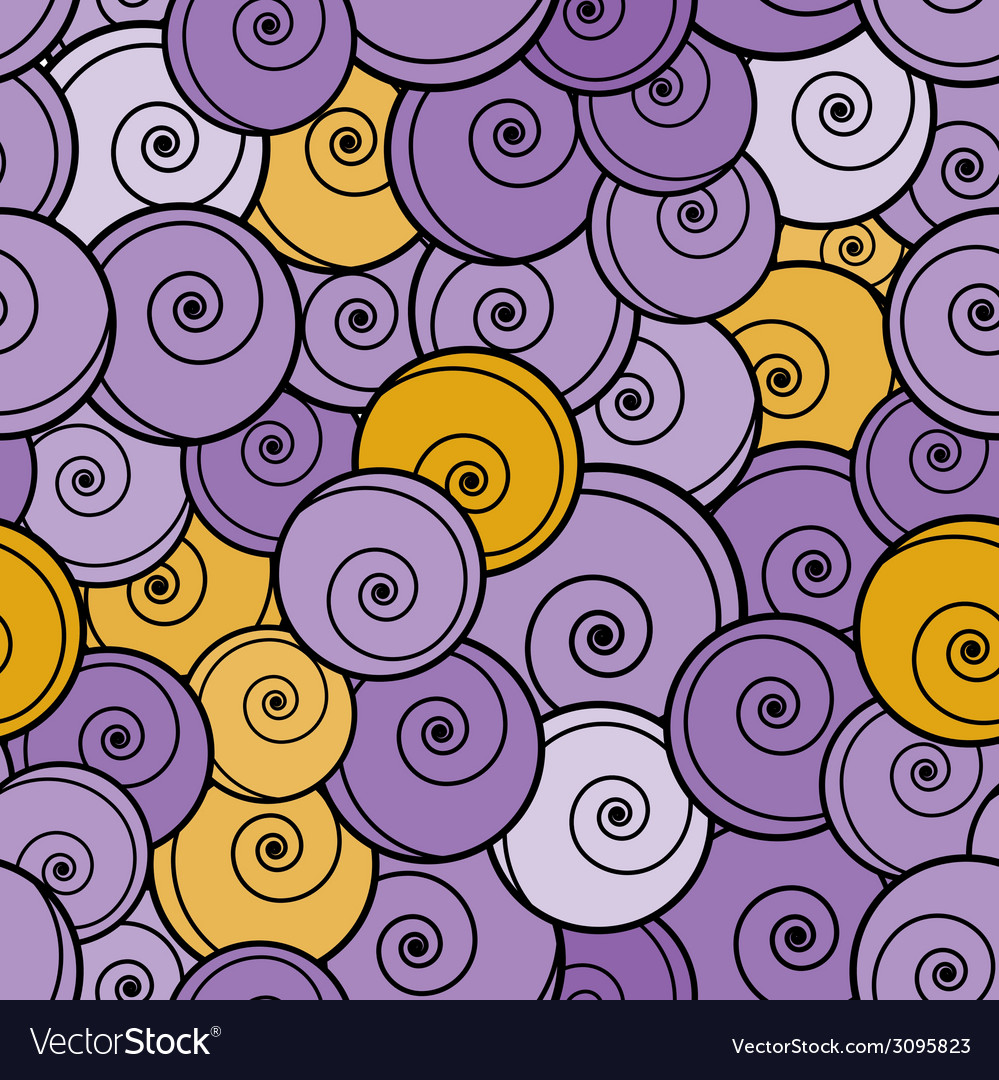 Violet and yellow curls seamless pattern vector | Price: 1 Credit (USD $1)