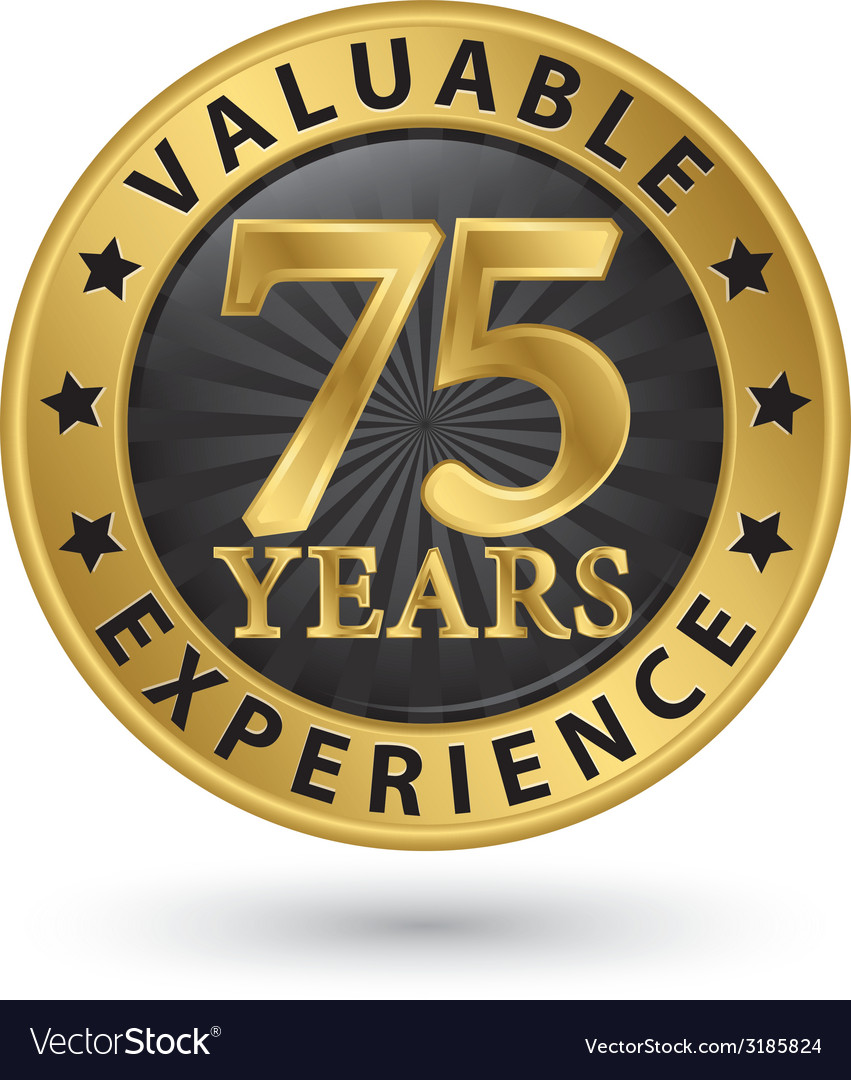 75 years valuable experience gold label vector | Price: 1 Credit (USD $1)