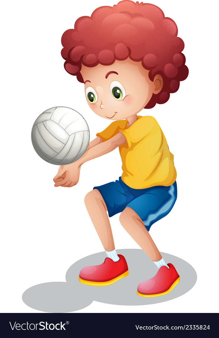 A boy playing volleyball vector | Price: 1 Credit (USD $1)
