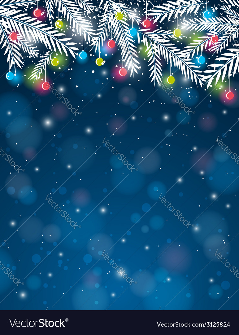 Background with pine twig and christmas ball vector | Price: 1 Credit (USD $1)