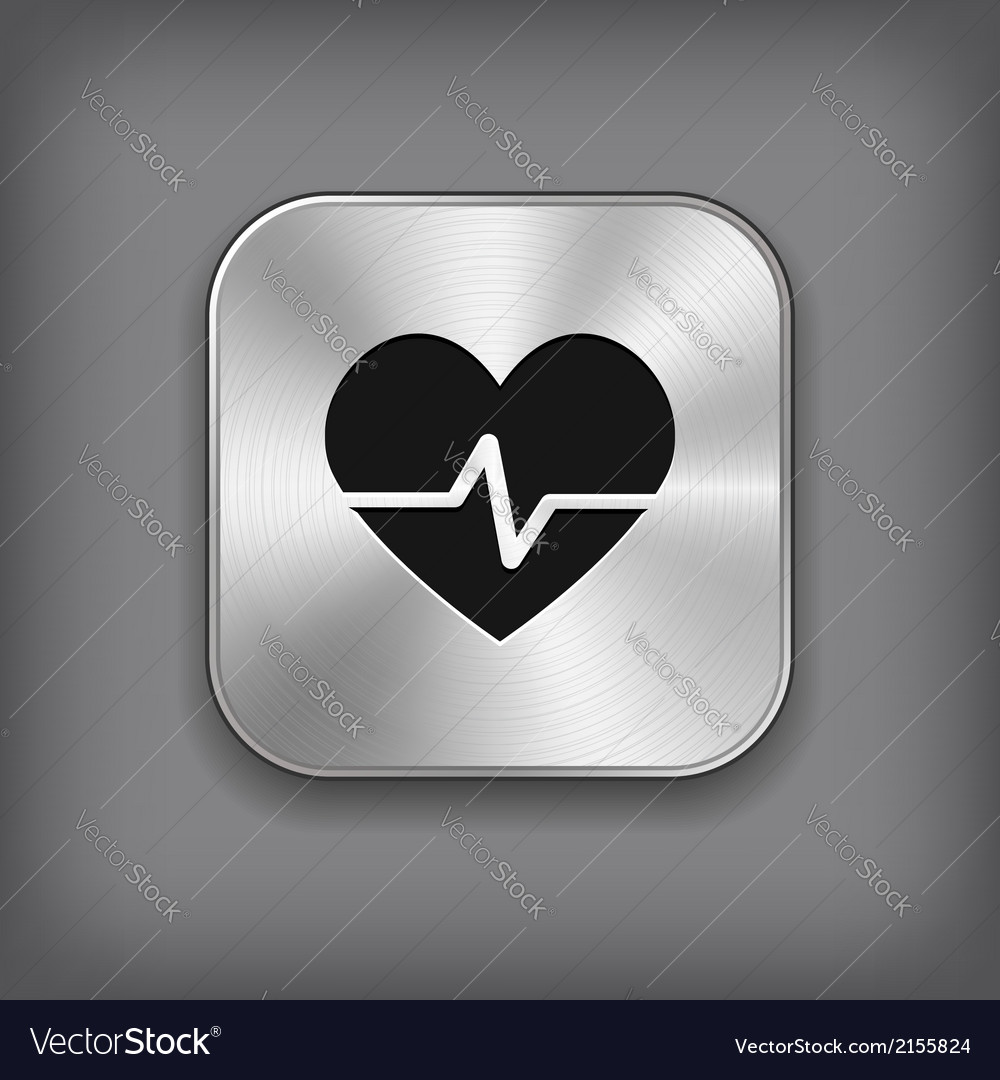 Cardiology icon - metal app button vector | Price: 1 Credit (USD $1)
