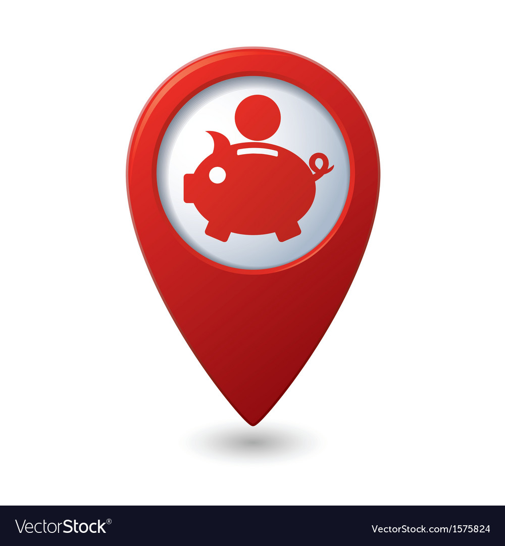 Copypig icon red map pointer vector | Price: 1 Credit (USD $1)