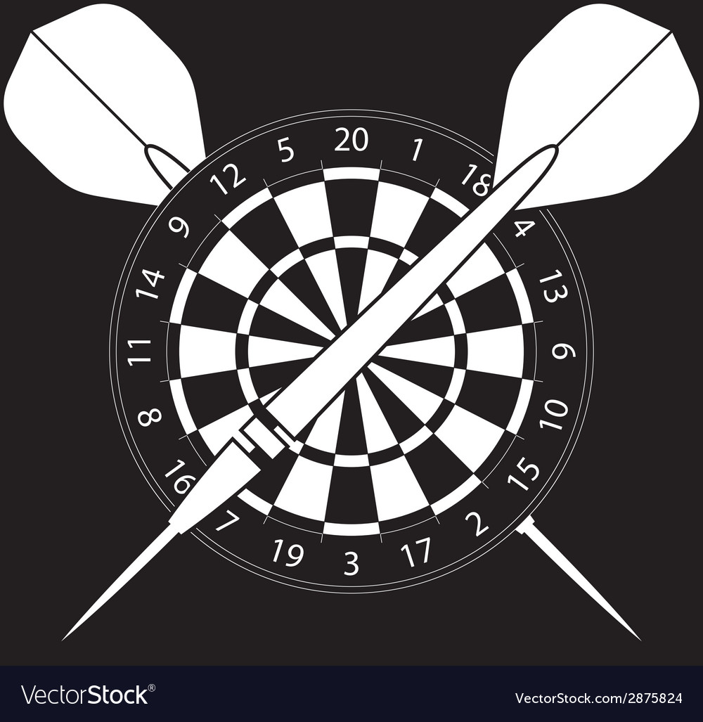 Dartboard with darts on black background vector | Price: 1 Credit (USD $1)