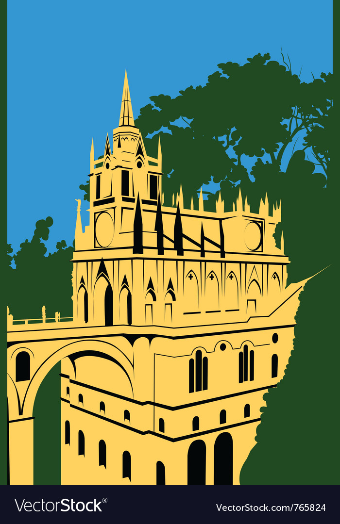 Golden castle in the woods vector | Price: 3 Credit (USD $3)