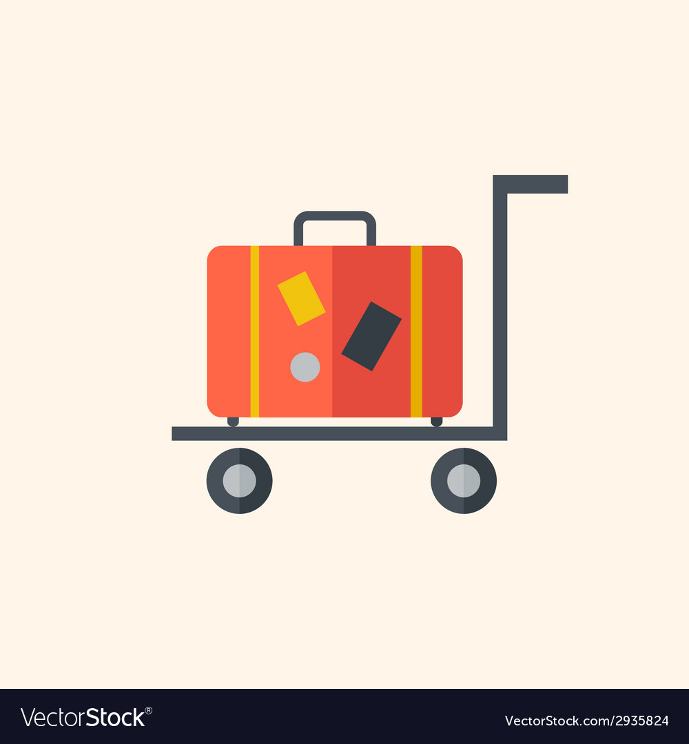 Luggage travel flat icon vector | Price: 1 Credit (USD $1)