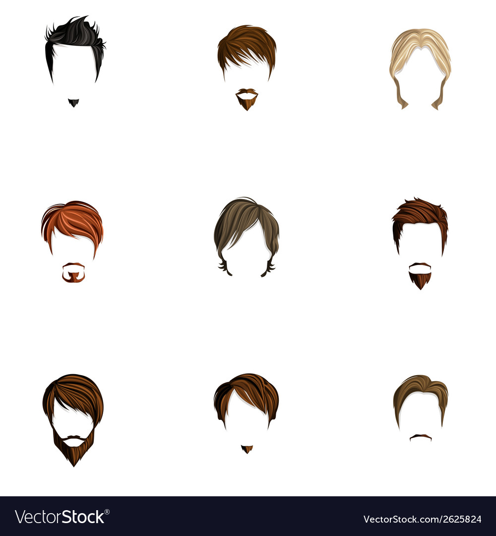 Man hair style set vector | Price: 1 Credit (USD $1)