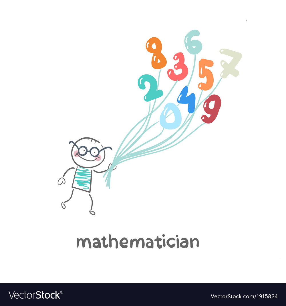 Mathematician is flying on figures vector | Price: 1 Credit (USD $1)