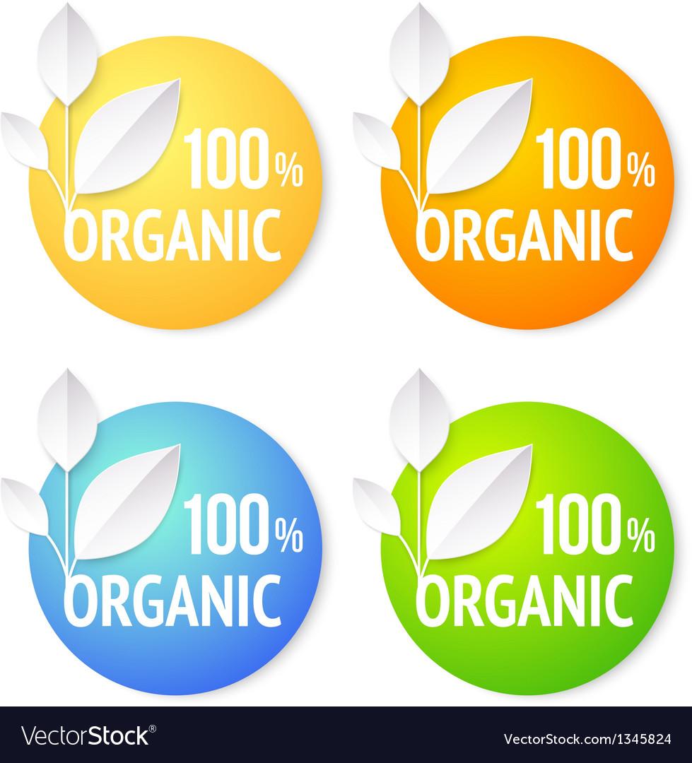 Organic plant labels set vector | Price: 1 Credit (USD $1)