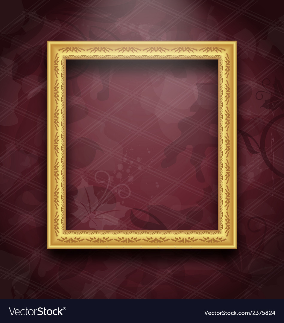 Picture frame on floral texture wall vector | Price: 1 Credit (USD $1)