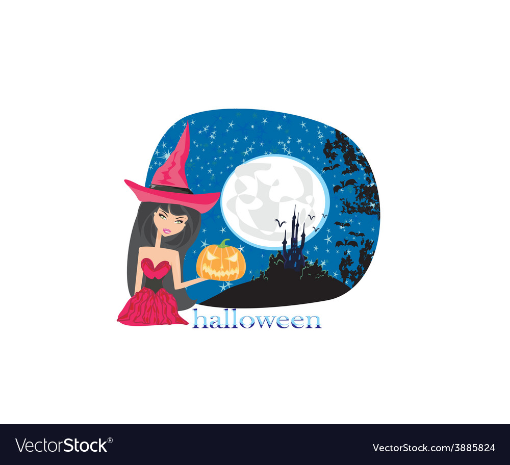 Pretty witch in a red dress vector | Price: 1 Credit (USD $1)