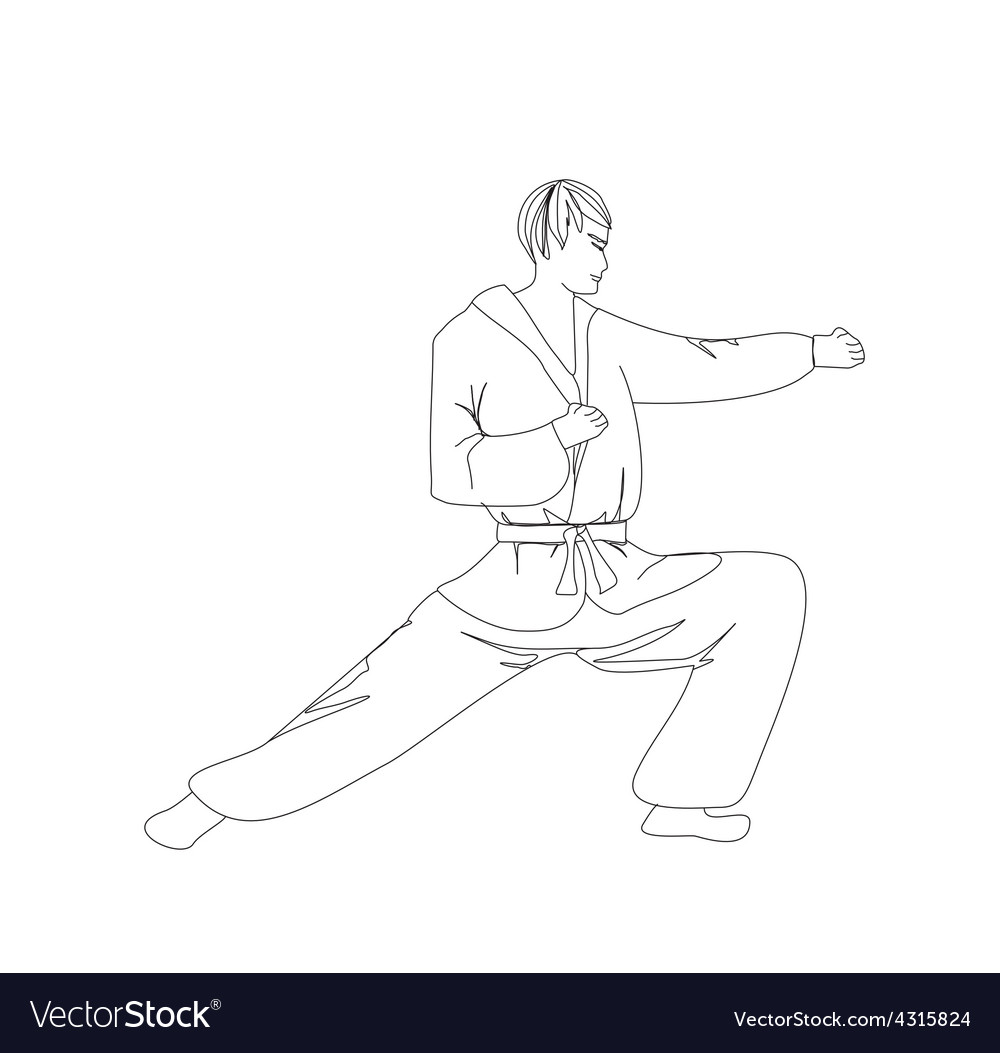 Simple sketch of a man doing martial arts vector | Price: 1 Credit (USD $1)