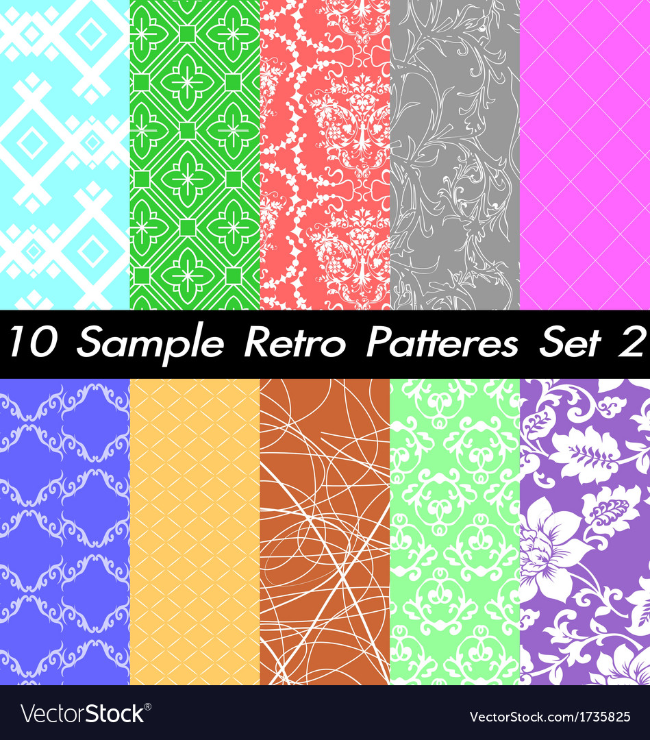 10 retro patterns textures set 2 vector | Price: 1 Credit (USD $1)
