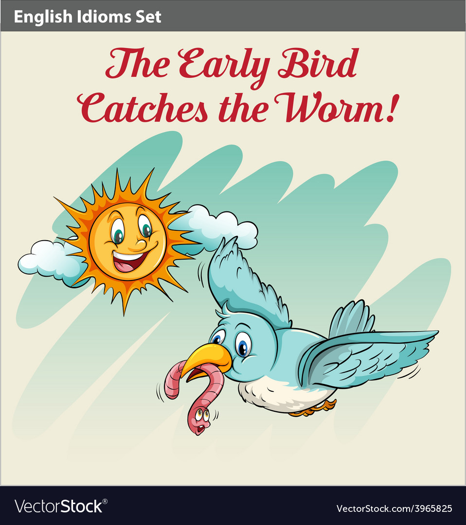 An early bird catching a worm vector | Price: 1 Credit (USD $1)