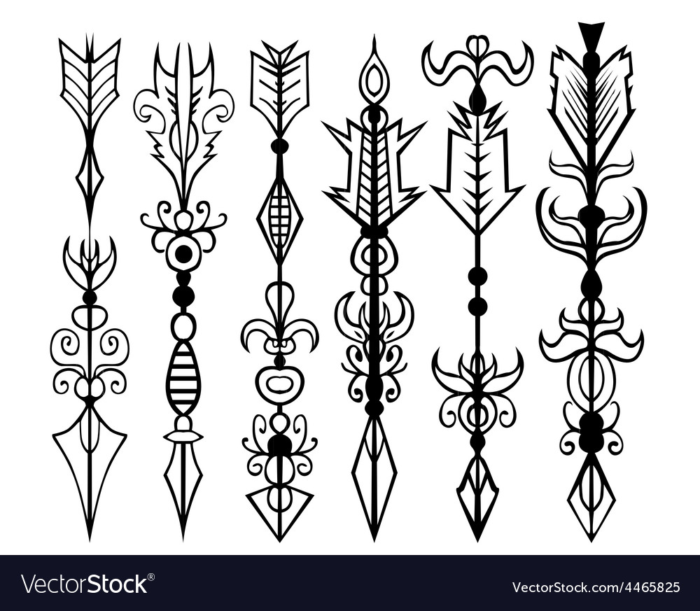 Arrows tattoo set vector | Price: 1 Credit (USD $1)