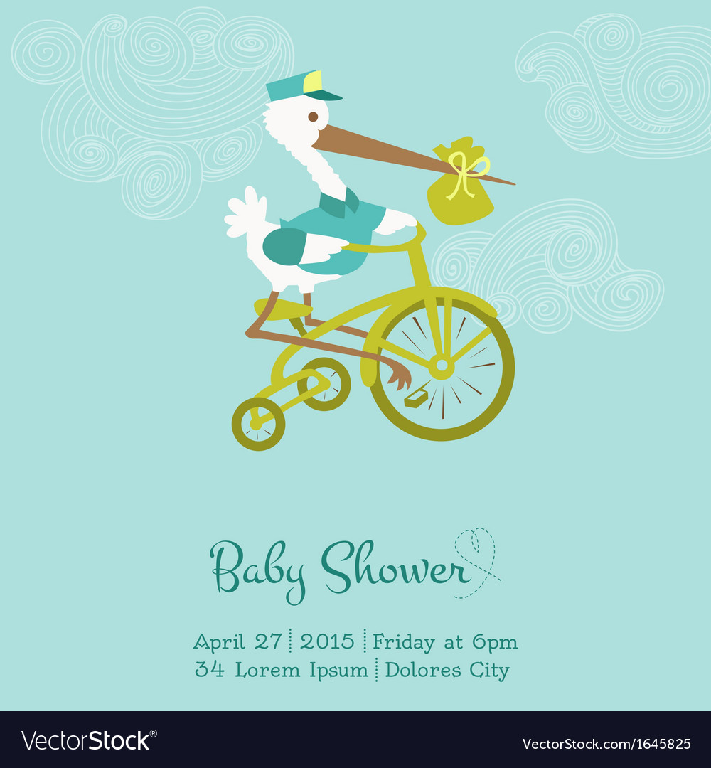 Baby shower or arrival card with stork vector | Price: 1 Credit (USD $1)