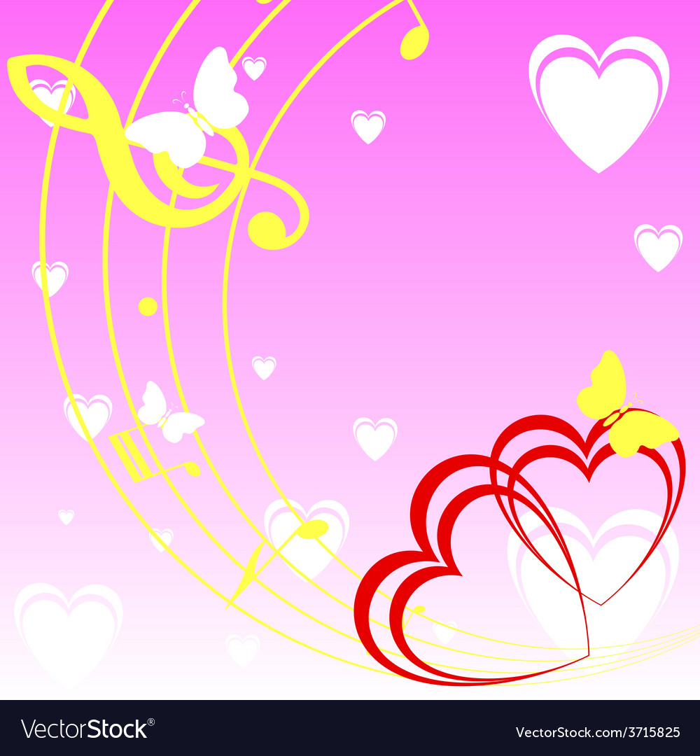 Background with heart and music vector | Price: 1 Credit (USD $1)