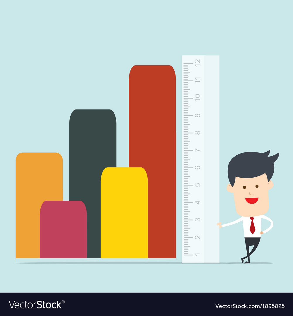 Business man use ruler measure vector | Price: 1 Credit (USD $1)