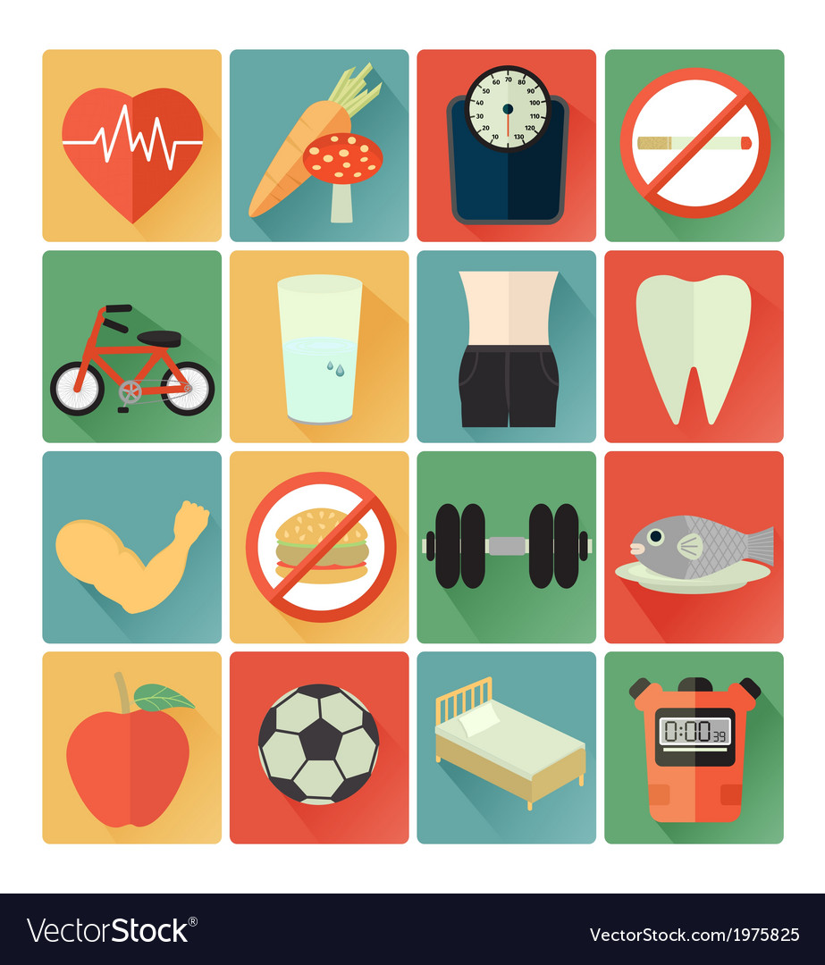 Flat icons health vector | Price: 1 Credit (USD $1)