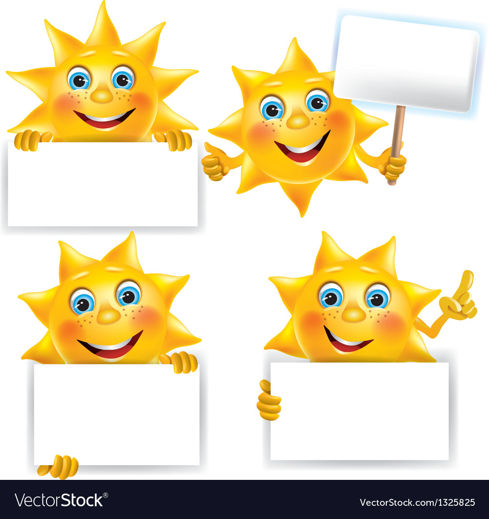 Funny sun with blank banner vector | Price: 1 Credit (USD $1)