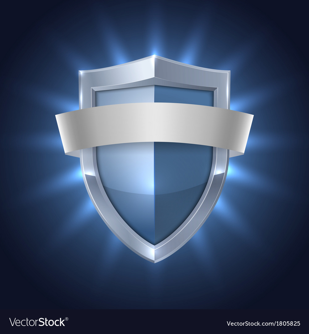 Glowing shield with blank ribbon safety badge vector | Price: 1 Credit (USD $1)