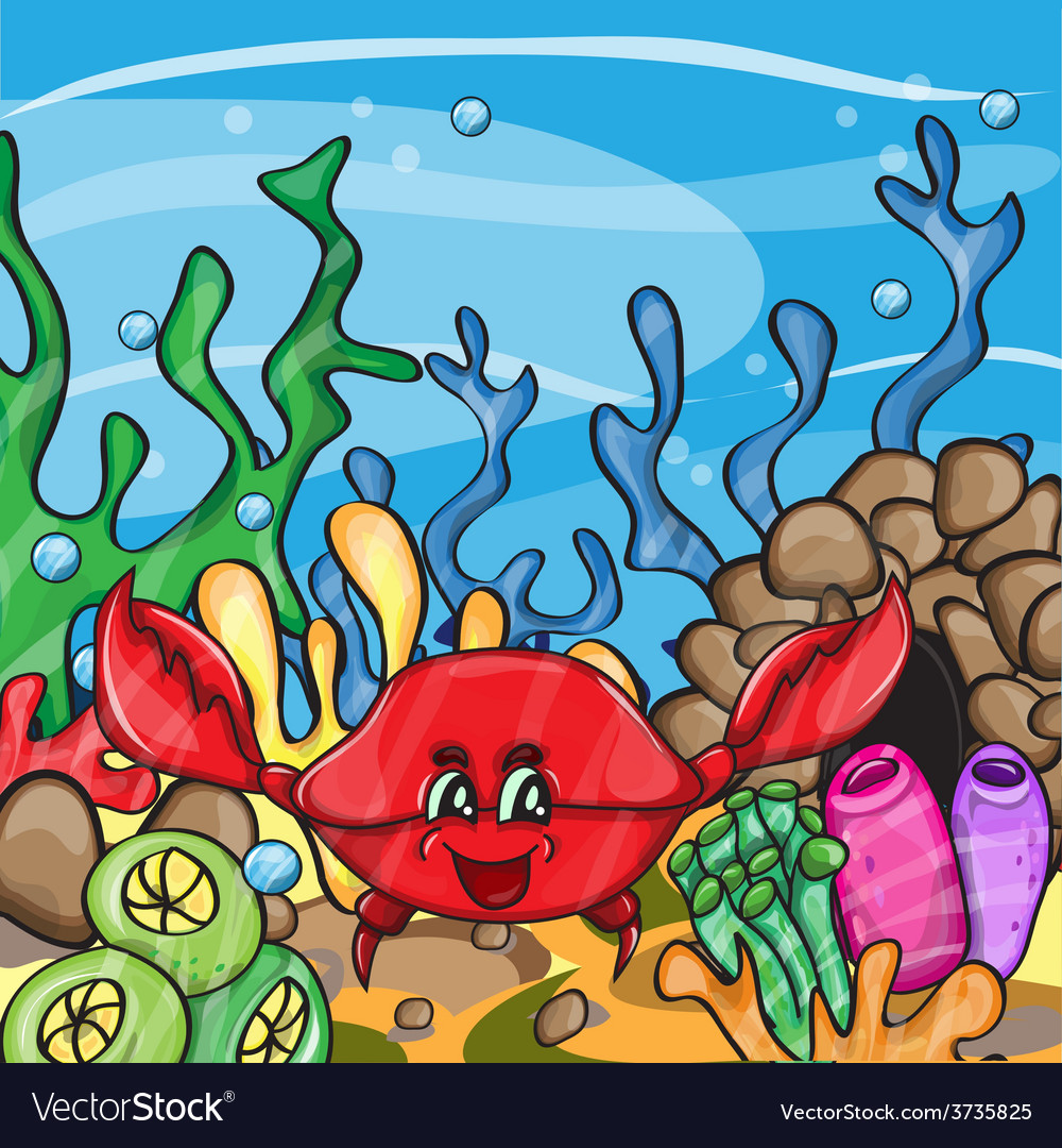 Happy crab in ocean vector | Price: 1 Credit (USD $1)