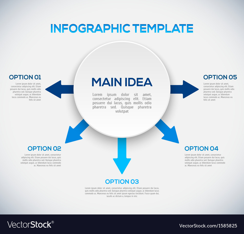 Infographics template with arrows and 3d circle vector | Price: 1 Credit (USD $1)