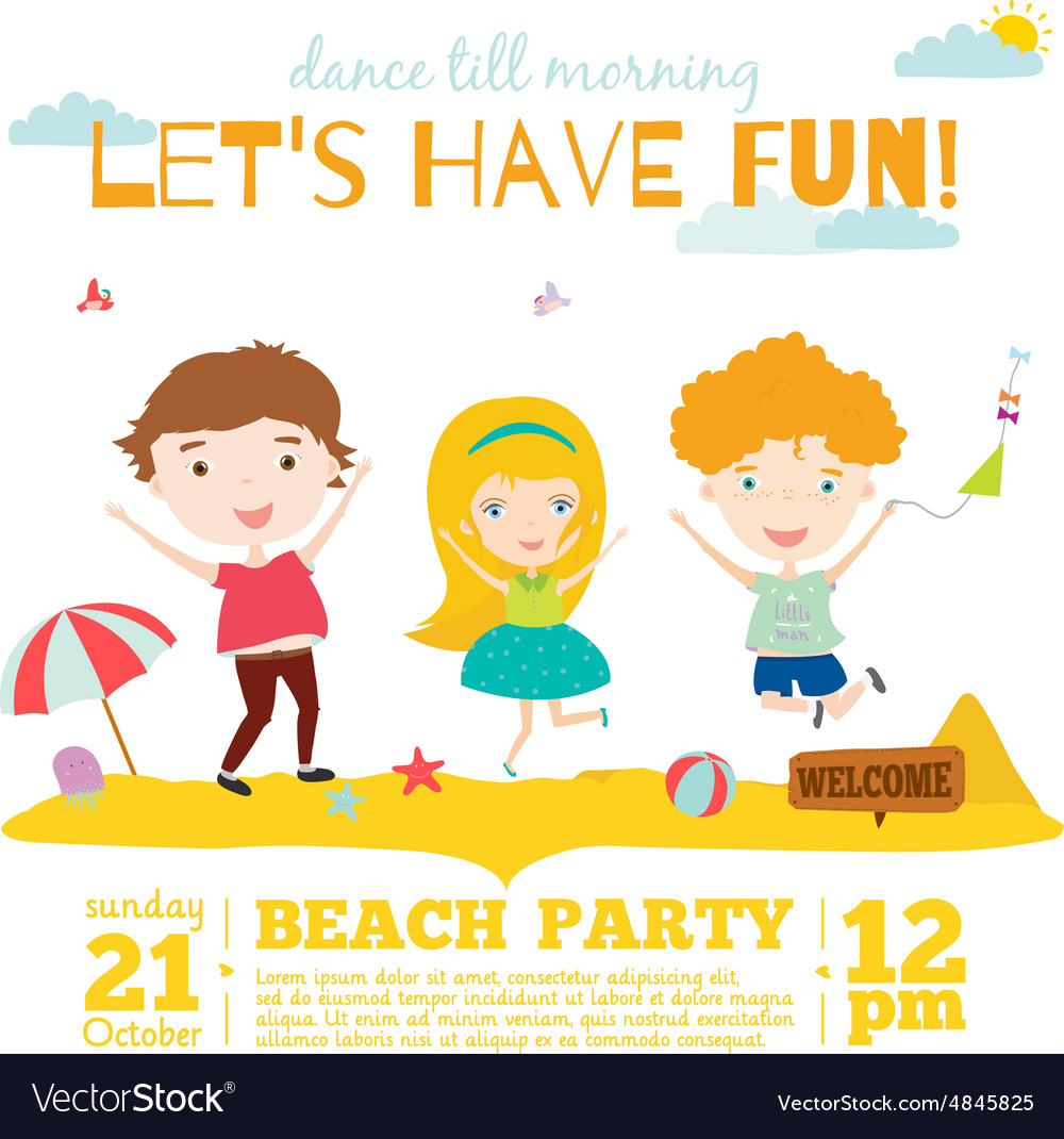 Invitation card on summer beach party with vector