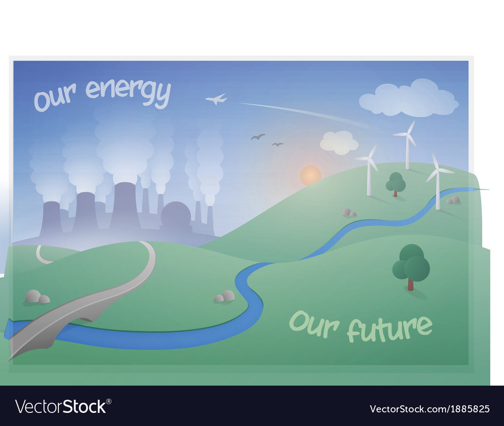Landscape with power plant and wind farm vector | Price: 1 Credit (USD $1)