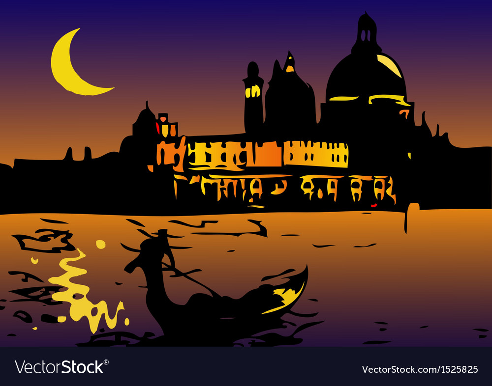 Night in venice with moon vector | Price: 3 Credit (USD $3)