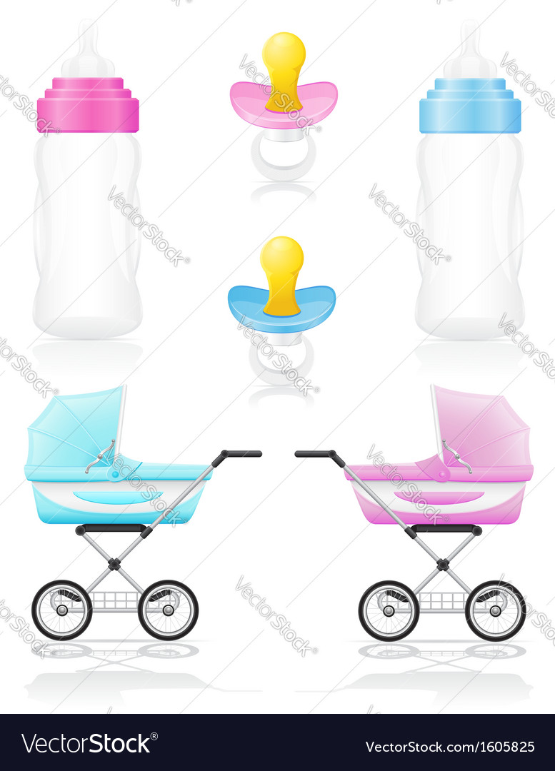 Set icons perambulator bottle pacifier pink and vector | Price: 1 Credit (USD $1)
