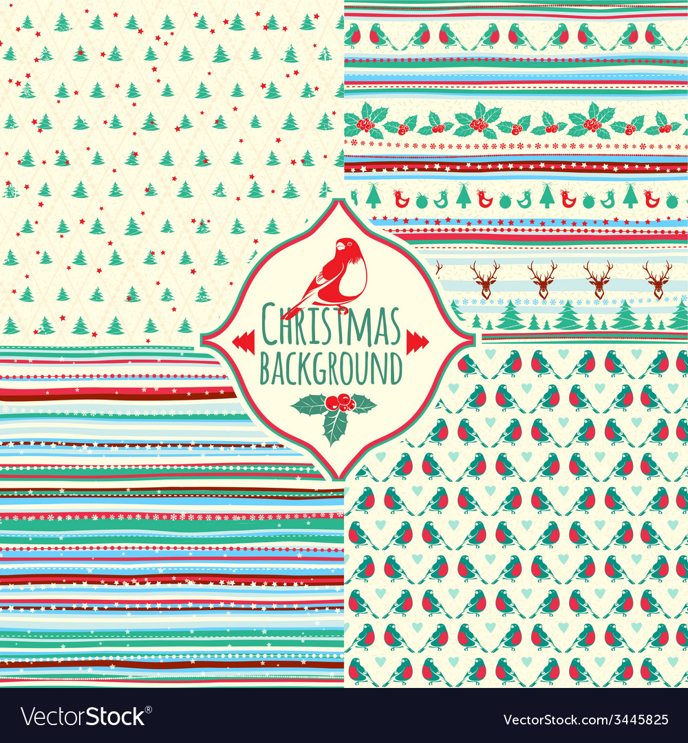 Set of four christmas patterns vector | Price: 1 Credit (USD $1)